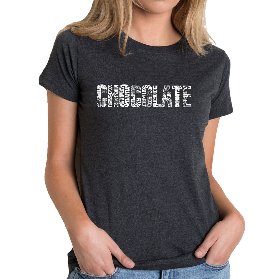 LA Pop Art Women's Premium Blend Word Art T-shirt - Different foods made with chocolate
