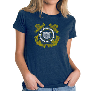 LA Pop Art Women's Premium Blend Word Art T-shirt - Coast Guard