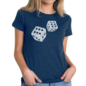 LA Pop Art Women's Premium Blend Word Art T-shirt - DIFFERENT ROLLS THROWN IN THE GAME OF CRAPS