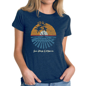 LA Pop Art Women's Premium Blend Word Art T-shirt - Cities In San Diego