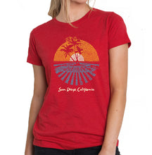 Load image into Gallery viewer, LA Pop Art Women's Premium Blend Word Art T-shirt - Cities In San Diego
