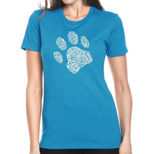 Load image into Gallery viewer, LA Pop Art Women's Premium Blend Word Art T-shirt - Dog Paw