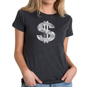 LA Pop Art Women's Premium Blend Word Art T-shirt - Dollar Sign