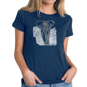 LA Pop Art Women's Premium Blend Word Art T-shirt - ELEPHANT