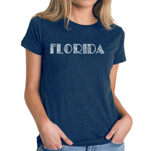 LA Pop Art Women's Premium Blend Word Art T-shirt - POPULAR CITIES IN FLORIDA