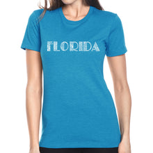 Load image into Gallery viewer, LA Pop Art Women's Premium Blend Word Art T-shirt - POPULAR CITIES IN FLORIDA