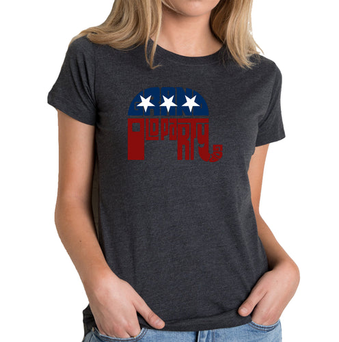 LA Pop Art Women's Premium Blend Word Art T-shirt - REPUBLICAN - GRAND OLD PARTY