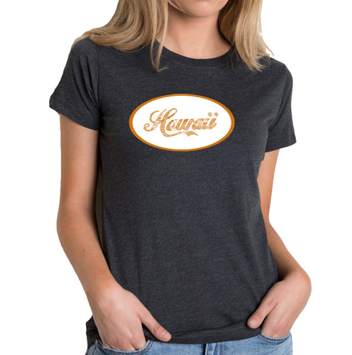 LA Pop Art Women's Premium Blend Word Art T-shirt - HAWAIIAN ISLAND NAMES & IMAGERY