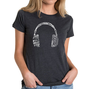 LA Pop Art Women's Premium Blend Word Art T-shirt - HEADPHONES - LANGUAGES