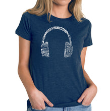 Load image into Gallery viewer, LA Pop Art Women's Premium Blend Word Art T-shirt - HEADPHONES - LANGUAGES