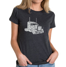 Load image into Gallery viewer, LA Pop Art Women's Premium Blend Word Art T-shirt - KEEP ON TRUCKIN'
