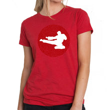 Load image into Gallery viewer, LA Pop Art Women's Premium Blend Word Art T-shirt - Types of Martial Arts