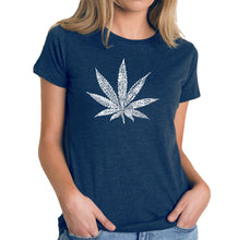 Load image into Gallery viewer, LA Pop Art Women's Premium Blend Word Art T-shirt - 50 DIFFERENT STREET TERMS FOR MARIJUANA
