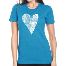 Load image into Gallery viewer, LA Pop Art Women's Premium Blend Word Art T-shirt - Lots of Love