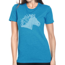 Load image into Gallery viewer, LA Pop Art Women's Premium Blend Word Art T-shirt - Horse Mane