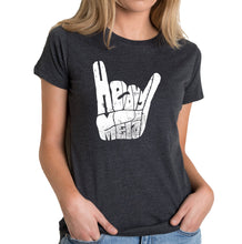Load image into Gallery viewer, LA Pop Art Women's Premium Blend Word Art T-shirt - Heavy Metal