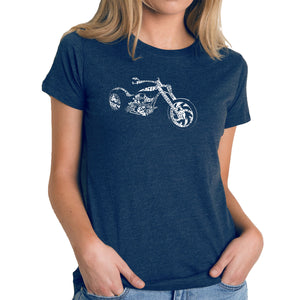 LA Pop Art Women's Premium Blend Word Art T-shirt - MOTORCYCLE