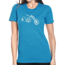 Load image into Gallery viewer, LA Pop Art Women's Premium Blend Word Art T-shirt - MOTORCYCLE