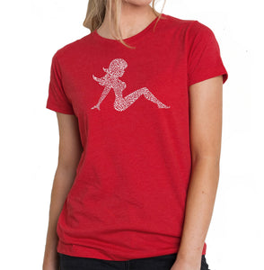LA Pop Art Women's Premium Blend Word Art T-shirt - Mudflap Girl - Keep on Truckin