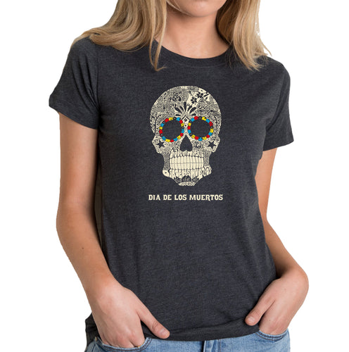LA Pop Art Women's Premium Blend Word Art T-shirt - Dia De Los Muertos