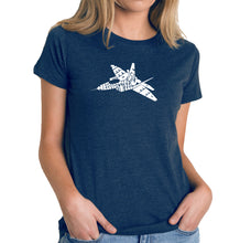 Load image into Gallery viewer, LA Pop Art Women's Premium Blend Word Art T-shirt - FIGHTER JET - NEED FOR SPEED