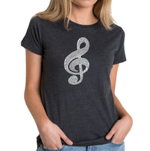 Load image into Gallery viewer, LA Pop Art Women's Premium Blend Word Art T-shirt - Music Note