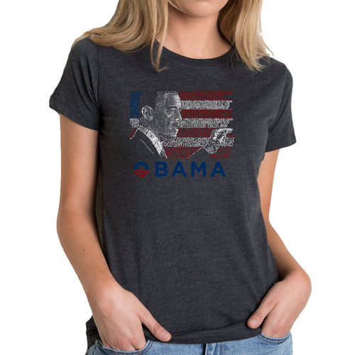 LA Pop Art Women's Premium Blend Word Art T-shirt - BARACK OBAMA - ALL LYRICS TO AMERICA THE BEAUTIFUL