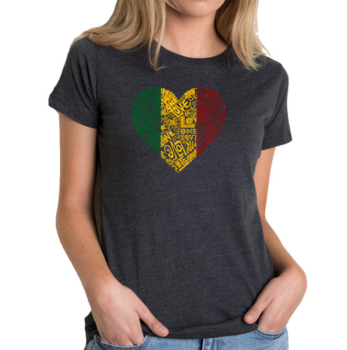 LA Pop Art Women's Premium Blend Word Art T-shirt - One Love Heart