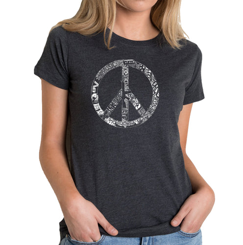 LA Pop Art Women's Premium Blend Word Art T-shirt - PEACE, LOVE, & MUSIC