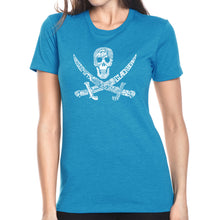 Load image into Gallery viewer, LA Pop Art Women's Premium Blend Word Art T-shirt - PIRATE CAPTAINS, SHIPS AND IMAGERY