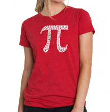 Load image into Gallery viewer, LA Pop Art Women's Premium Blend Word Art T-shirt - THE FIRST 100 DIGITS OF PI