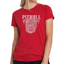 Load image into Gallery viewer, LA Pop Art Women's Premium Blend Word Art T-shirt - Pitbull Face