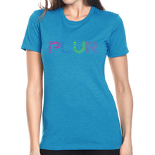 Load image into Gallery viewer, LA Pop Art Women's Premium Blend Word Art T-shirt - PLUR