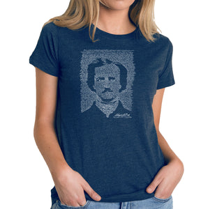 LA Pop Art Women's Premium Blend Word Art T-shirt - EDGAR ALLAN POE - THE RAVEN