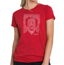 Load image into Gallery viewer, LA Pop Art Women's Premium Blend Word Art T-shirt - EDGAR ALLAN POE - THE RAVEN