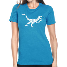 Load image into Gallery viewer, LA Pop Art Women's Premium Blend Word Art T-shirt - Velociraptor