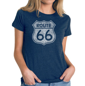 LA Pop Art Women's Premium Blend Word Art T-shirt - CITIES ALONG THE LEGENDARY ROUTE 66
