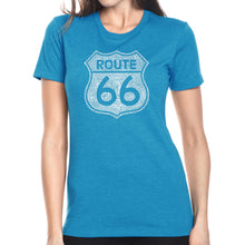 Load image into Gallery viewer, LA Pop Art Women's Premium Blend Word Art T-shirt - CITIES ALONG THE LEGENDARY ROUTE 66