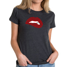 Load image into Gallery viewer, LA Pop Art Women's Premium Blend Word Art T-shirt - Savage Lips