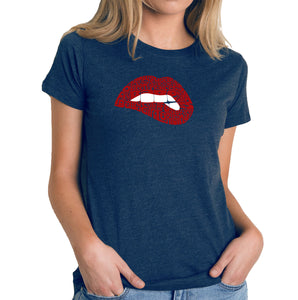LA Pop Art Women's Premium Blend Word Art T-shirt - Savage Lips
