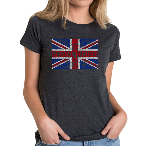 LA Pop Art Women's Premium Blend Word Art T-shirt - God Save The Queen