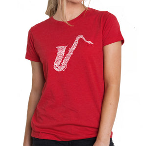 LA Pop Art Women's Premium Blend Word Art T-shirt - Sax