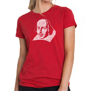 LA Pop Art Women's Premium Blend Word Art T-shirt - THE TITLES OF ALL OF WILLIAM SHAKESPEARE'S COMEDIES & TRAGEDIES
