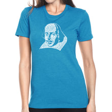 Load image into Gallery viewer, LA Pop Art Women's Premium Blend Word Art T-shirt - THE TITLES OF ALL OF WILLIAM SHAKESPEARE'S COMEDIES & TRAGEDIES