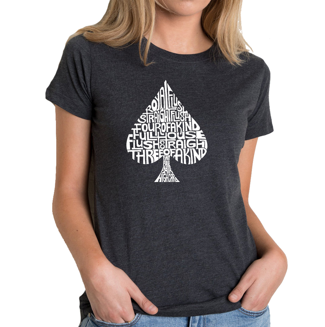 LA Pop Art Women's Premium Blend Word Art T-shirt - ORDER OF WINNING POKER HANDS