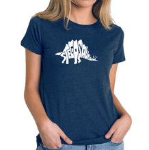 Load image into Gallery viewer, LA Pop Art Women's Premium Blend Word Art T-shirt - STEGOSAURUS
