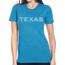 Load image into Gallery viewer, LA Pop Art Women's Premium Blend Word Art T-shirt - THE GREAT CITIES OF TEXAS