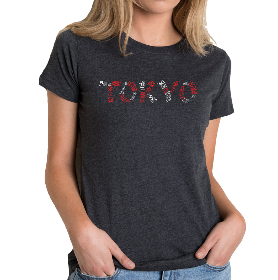 LA Pop Art Women's Premium Blend Word Art T-shirt - THE NEIGHBORHOODS OF TOKYO