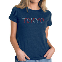 Load image into Gallery viewer, LA Pop Art Women's Premium Blend Word Art T-shirt - THE NEIGHBORHOODS OF TOKYO