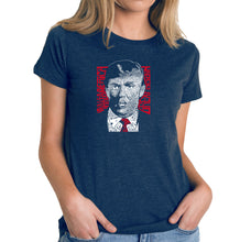 Load image into Gallery viewer, LA Pop Art Women's Premium Blend Word Art T-shirt - TRUMP  - Make America Great Again